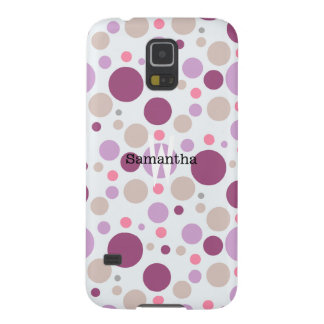 Purple Plum Polka Dots Custom Name Galaxy S5 Case