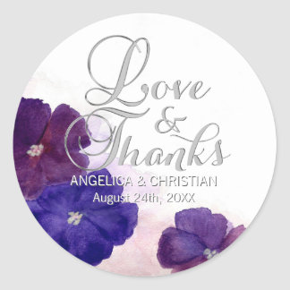Purple Plum Violet Floral Wedding Love & Thanks Classic Round Sticker