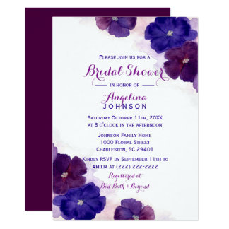 Purple Plum Violet Watercolor Floral Bridal Shower Card