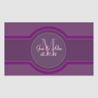 Purple Plum Wedding Wine Labels Rectangular Sticker