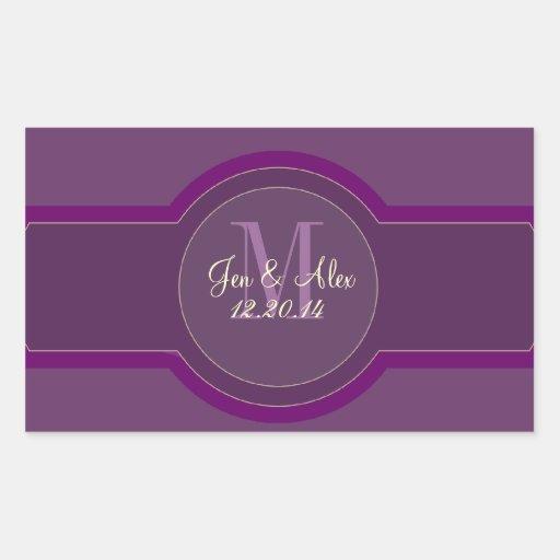Purple Plum Wedding Wine Labels Rectangle Stickers