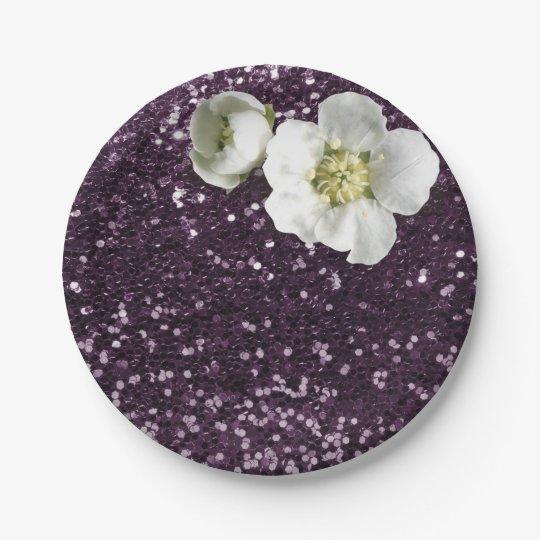 Purple Plum White Jasmine Glitter Paper Plate