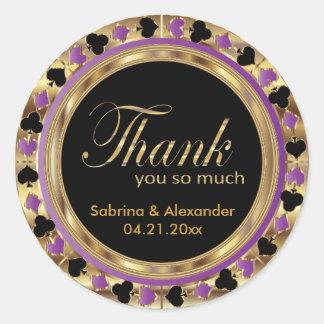 Purple Poker Wedding Chip | Thank You Round Sticker