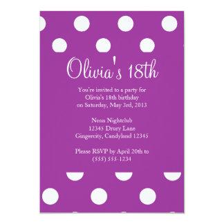 Purple Polka Dot Birthday Invitation