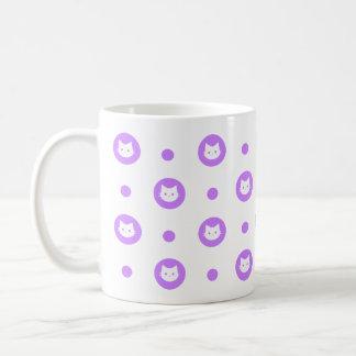 Purple Polka Dot Cat Mug