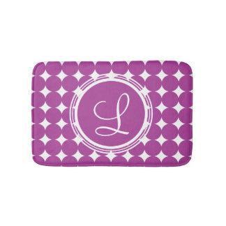 Purple Polka Dot Monogram Bath Mat