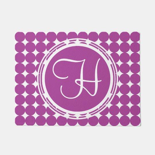 Purple Polka Dot Monogram Doormat