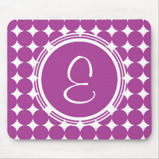 Purple Polka Dot Monogram Mouse Pad