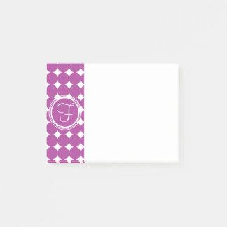 Purple Polka Dot Monogram Post-it Notes