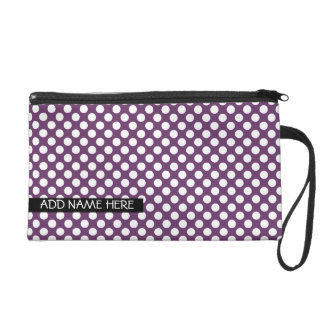 Purple Polka Dot Pattern with Name Wristlet