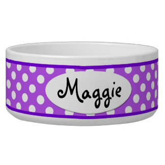 Purple Polka Dot Personalized Ceramic Dog Bowl