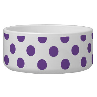 Purple Polka Dot Pet Food Bowl