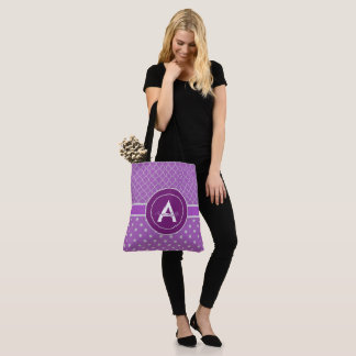 Purple Polka Dot Quatrefoil Tote Bag