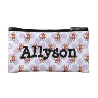 Purple Polka Dot with Pink Flowers Cosmetic Bag