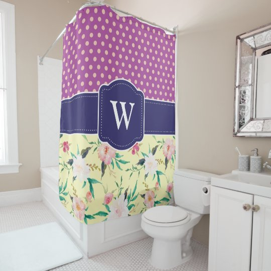 Purple Polka Dots and Floral Shower Curtain