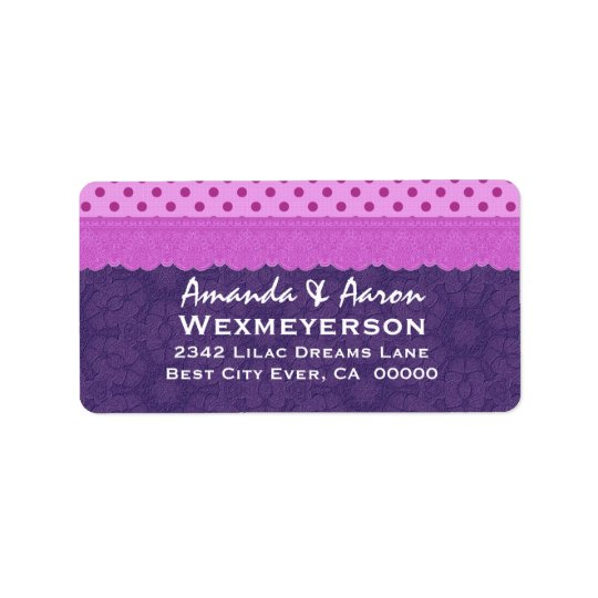 Purple Polka Dots and Lace Wedding Paper Product 1