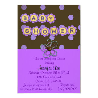 Purple Polka Dots Baby Shower Invitation