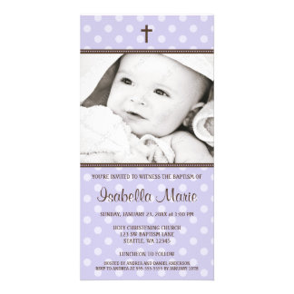 Purple Polka Dots Brown Cross Baptism Photo Card