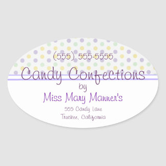 Purple Polka Dots-Candy Label Oval Sticker