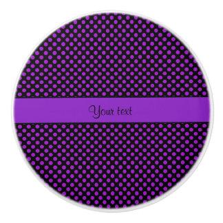 Purple Polka Dots Ceramic Knob