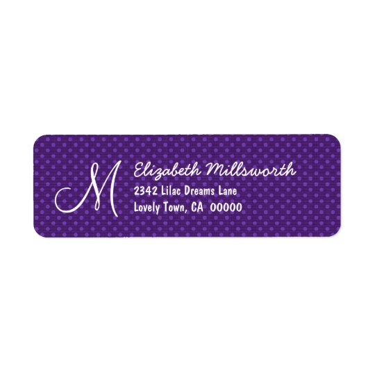 Purple Polka Dots Monogram M or Any Initial A012 Return Address Label