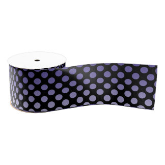 Purple Polka Dots on Black Grosgrain Ribbon