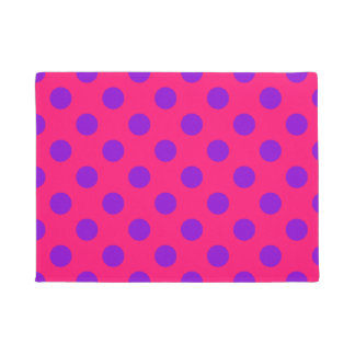 Purple polka dots on cerise doormat