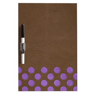 Purple Polka Dots on Chocolate Leather print Dry Erase Boards