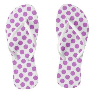 Purple polka dots pattern flip flops