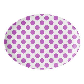 Purple polka dots pattern porcelain serving platter
