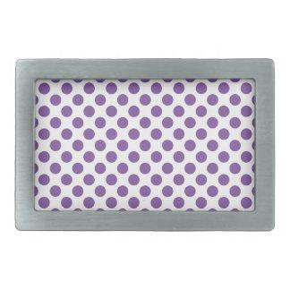 Purple Polka Dots Rectangular Belt Buckles
