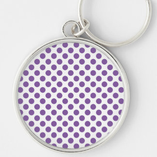 Purple Polka Dots Silver-Colored Round Keychain