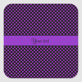 Purple Polka Dots Square Sticker