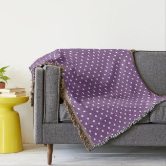 Purple Polka Dots Throw Blanket