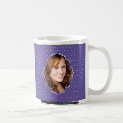 Purple polkadot photo frame coffee mug