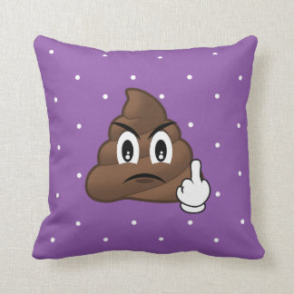 Purple Polkadots Middle Finger Poop Emoji Pillow