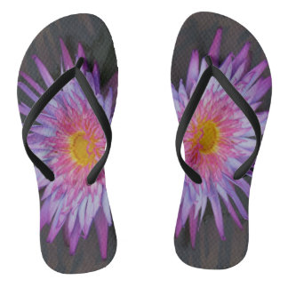 Purple Pond Lily Flip Flops