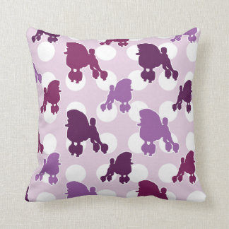 Purple Poodle Polka Dot Throw Pillow