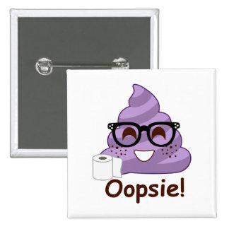Purple Poop Emoji Oops 2 Inch Square Button