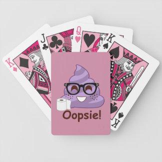 Purple Poop Emoji Oops Bicycle Playing Cards