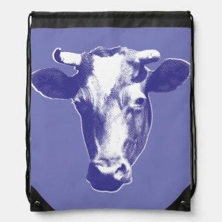 Purple Pop Art Cow Drawstring Bag