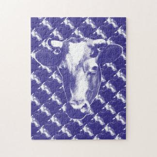 Purple Pop Art Cow Graphic Jigsaw Puzzle
