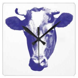 Purple Pop Art Cow Graphic Square Wall Clock