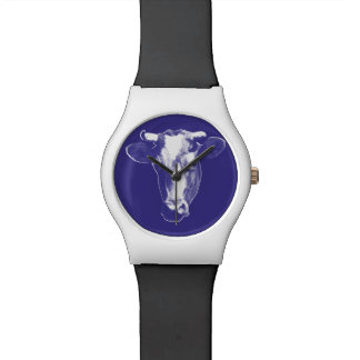 Purple Pop Art Cow Graphic Watch