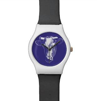 Purple Pop Art Cow Watch