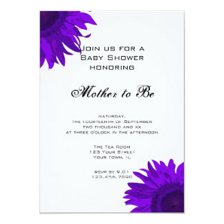 Purple Pop Art Flower Baby Shower Invitation