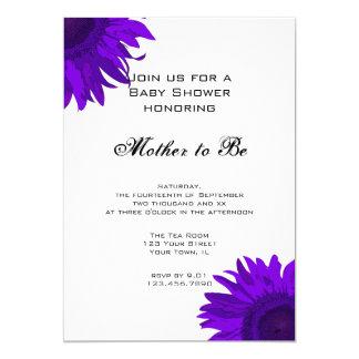 Purple Pop Art Sunflower Baby Shower Invitation