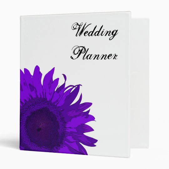 Purple Pop Art Sunflower Wedding Binder
