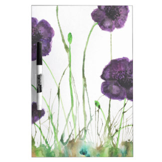 Purple Poppies in the grass Dry Erase Board