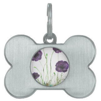 Purple Poppies in the grass Pet Name Tag